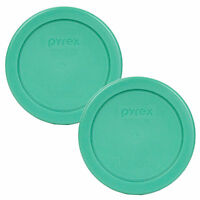 """Pyrex 7202-PC 4"""" Round Green Replacement Lid 2 Pack For 1 Cup Glass Bowl New"""