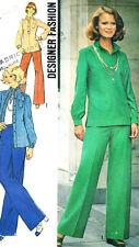 "6754 SIMPLICITY Designer c.1974 - SHIRT BLOUSE & PANTS - Sz 12 B 34"""