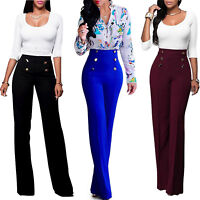 Women Palazzo High Waist Flared Wide Leg OL Work Lady Button Long Trousers Pants