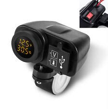 Gelb LED 12V Motorrad Ladegerät 2.1+2.1A USB mit Digital Voltmeter + Thermometer