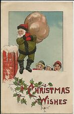 "Santa Claus figure in green on roof on fine embossed ""Christmas Wishes"" postcard"