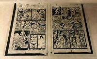 Red Sonja #2 pg 26,27 original ART acetate 1977 THORNE DEMON in PIT super cool