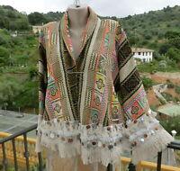 Ibiza Style Jacke Hippie Boho Fransen Münzen Borde Bunt  Baumwolle EG 38-44