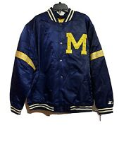 Men's 90's Vintage Starter Michigan Wolverines Snap Satin Bomber Jacket USA 3 XL