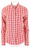 JACK WILLS Womens Shirt Size 12 Medium Red Check Cotton  AO12