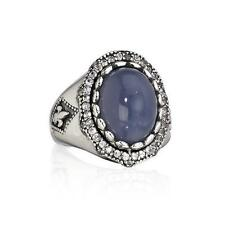 NEW Scott Kay BLUE CHALCEDONY & WHITE SAPPHIRE Sterling Silver RING Sz 6 NWT!