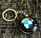 BMW SOLID METAL 3D CHROME DOUBLE SIDED KEYRING KEYCHAIN FOB ROUND GLOSS SHINY UK