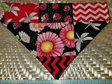 Dog Bandana Over Collar Xs-L Patchwork Red Floral Chevron Ladybugs Old-Fashioned