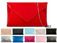 Women Patent Envelope Clutch Bag Wet Look Casual Prom Party Girls Evening UK