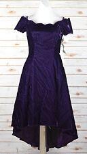 Vtg 80s 90s Prom Sz 10 Party Dress Purple Crushed Velvet Hi Lo Crinoline NWT