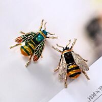 Retro Enamel Bumble Bee Crystal Brooch Pin Costume Badge Women Jewelry Gift