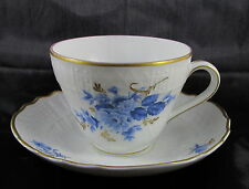 Antique Hutschenreuther Chateau Dresden Blue Blau Porcelain Gold Trim Cup&Sacuer