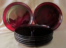 "8 PC SET of 9"" DINNER PLATES - Tempered CRANBERRY GLASS - Round w/Raised Lip"