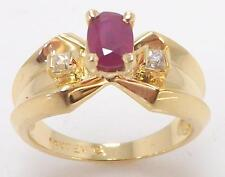 14K YELLOW GOLD OVAL RUBY & PRINCESS CUT WHITE TOPAZ RING SIZE 6 - 4.4gr