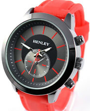 Mens Smart Casual Sports Watch with Smooth Red Silicone Strap by Henley. Boxed