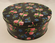 Vintage Collectable Round Tin Container Box Black W/ Floral Pink Rose Design