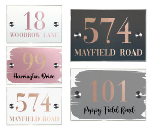 Contemporary House Sign Modern Plaque Door Number Personalised Rose Gold Copper