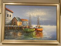 Framed Original Oil Painting On Canvas of Fishing Boats & Marina Signed