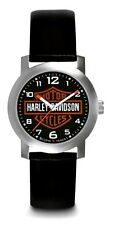 Harley-Davidson® Bulova Men's Bar & Shield Stainless Steel Leather Watch 76A04