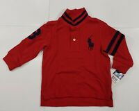 New with tag NWT Boys RALPH LAUREN Red Long Sleeve POLO Shirt 12M Big Pony