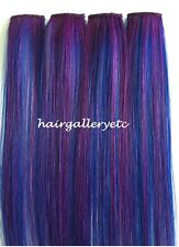 "12"",14"", 18"" Long Multi Color Clip-in 100% Human Hair Extensions 4pcs USA SELLER"