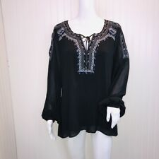 WHBM 10 Top Black Semi Sheer Cold Sleeve Cut Outs Peasant Embroidered