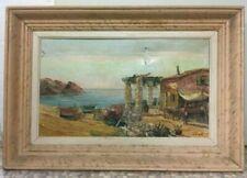 Peintures du XXe siècle et contemporaines huiles sur toile en paysage marin, bateau