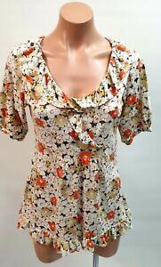 💜 ANN TAYLOR LOFT Cotton Ruffle Babydoll Top Floral Size M Buy7=FreePost L851
