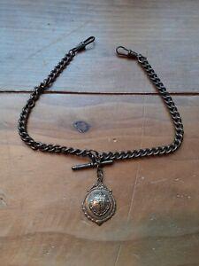 Vintage metal Albert pocket watch chain & medallion