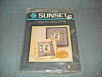VINTAGE SUNSET COUNTED CROSS STITCH KIT 2964 BEARS BALLOONS AND BUTTERFLIES NEW
