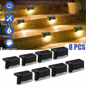 8X LED Solarleuchte Zaunleuchte Wegbeleuchtung Stufenleuchte Außen Treppenlicht
