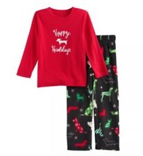 NWT Jammies For Your Families Boys Red Dog Howliday Top & Fleece Bottoms Size 3T