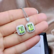 Certified Natural Olivine Stone 925 Sterling Silver Ring Pendant Set Women Gift