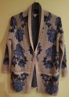 J.JILL  Women's Open Cardigan Sweater Small Floral Blue Gray Wool Blend Pockets