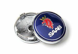 NEW 4 x 60mm SAAB Blue Wheel Center Caps Logo Hub Rims FITS 9-3 9-5 900 93 Alloy