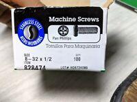 "100 Steel Pan Phillips Machine Screws 8 - 32 x 1/2"""