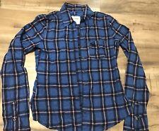 abercrombie fitch blue Plaid Button Front Top