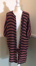 Masai Clothing Co Striped Oversized Cardigan M Long Lagenlook Black Rust Bronze