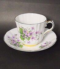 Windsor Bone China Purple Violets,Green Leaf Flat Teacup,Saucer Set VGC