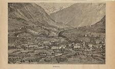 Stampa antica SONDRIO veduta panoramica Valtellina 1899 Old antique print