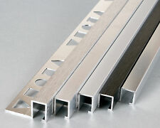 10x TILE TRIM STRAIGHT L-SHAPE & SQUARE BOX  ALUMINIUM - 2.5M (8 FT) HEAVY DUTY