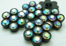 10 Sparkling Rainbow Glass Rhinestone black Plastic Shank Button #P568