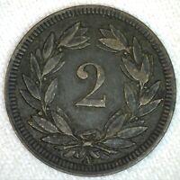 1851 A Switzerland Bronze 2 Rappen Coin VF Very Fine