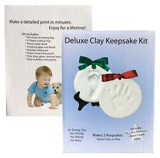 DELUXE HOLIDAY Clay Keepsake Ornament Kit -  Makes 2- Handprint Foot Print Paw