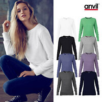 Anvil Women's Mid-Scoop French Terry Sweatshirt 72000L - Ladies Plain Jumper Top