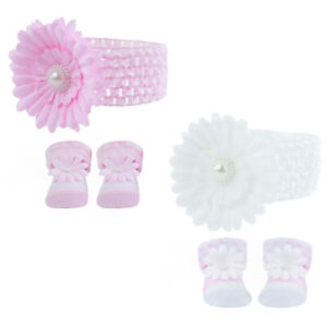 BNWT baby girls spanish romany pink or white flower socks and hairband 0-6 month