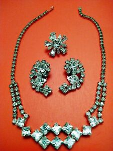 Handset Baguettes, Marquee & Round Rhinestone Necklace, Clip Earrings & Brooch