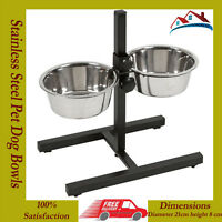 NEW STAINLESS STEEL DOUBLE PET DOG BOWLS STAND ADJUSTABLE HEIGHT FEEDING STATION