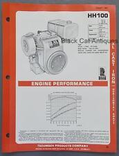 1981 Tecumseh XL Cast Iron Horizontal Shaft Engine Specs Brochure HH-100, 10.0hp