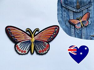 Large Red Butterfly Iron On Patch Badge Nature Applique DIY Sticker Insect